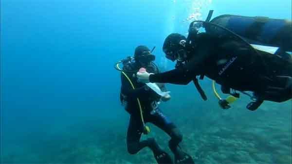 Μια διαφορετική πρόταση γάμου στο βυθό νησίδας κοντά στο Τρίκερι